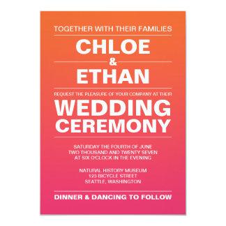 Rosa und orange Ombre Hochzeits-Einladungen Karte