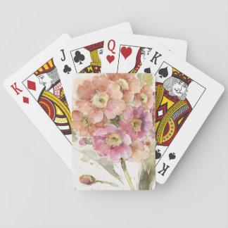 Rosa und orange Primel Spielkarten