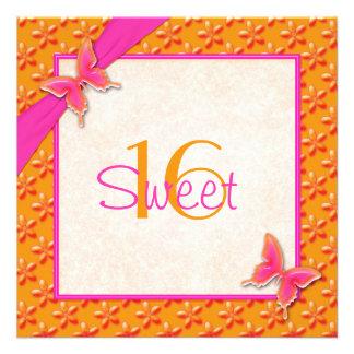 Rosa und orange Schmetterlings-16. Ankündigungskarte