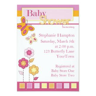 Rosa und orange Schmetterlings-Babyparty-Einladung