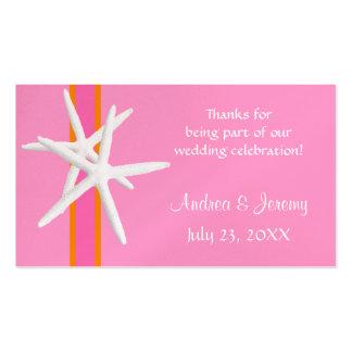 Rosa und orange Starfish-personalisierte Visitenkarten Vorlagen