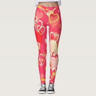 Rosa und rote Herz-Druck-Valentinsgruß-Gamaschen Leggings
