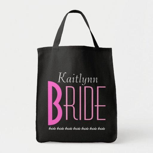 Rosa-und Schwarz-personalisierte Braut Leinentaschen