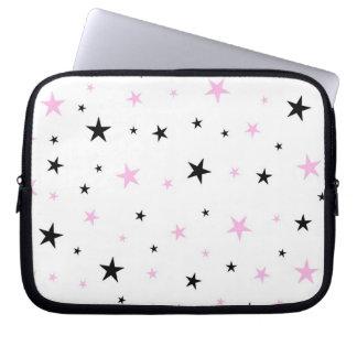 Rosa-und Schwarz-Stern-Laptop-Kasten Computer Sleeve Schutzhülle