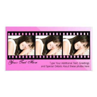 Rosa und schwarze Filmstrip Foto-Karte Fotokartenvorlage