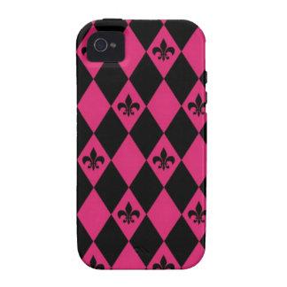 Rosa und schwarze Fleur-De-lysdiamanten Case-Mate iPhone 4 Case