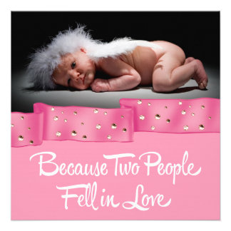 Rosa und schwarze Foto-Geburts-Mitteilung Einladungen