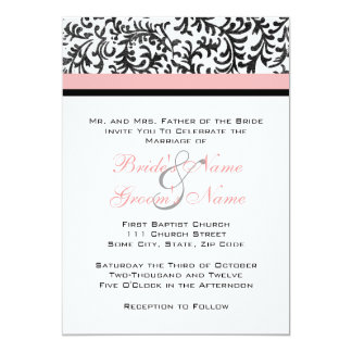 Rosa und schwarze Hochzeits-Einladung Karte