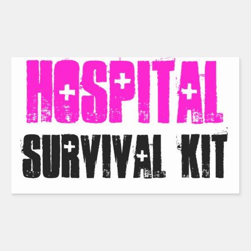 Rosa und schwarze Krankenhaus-Überlebensausrüstung Rechteckige Sticker