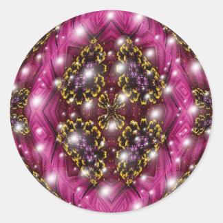 Rosa und schwarzer Blasen-Entwurf Runder Aufkleber