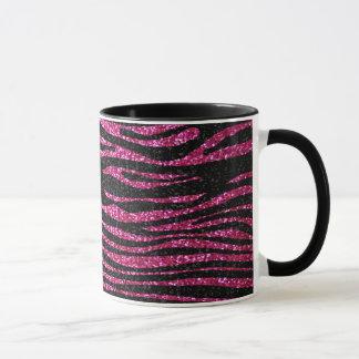 Rosa und schwarzer bling Zebra-Druck Tasse