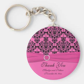 Rosa und schwarzer Damast Keychain Standard Runder Schlüsselanhänger
