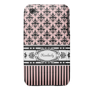 Rosa und schwarzer Damast schicken Paris und Strei iPhone 3 Hülle