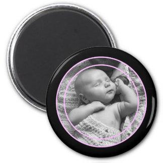 Rosa und schwarzer Foto-Rahmen Runder Magnet 5,7 Cm