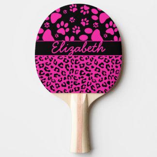 Rosa und schwarzer Leopard-Druck und Tatzen Tischtennis Schläger