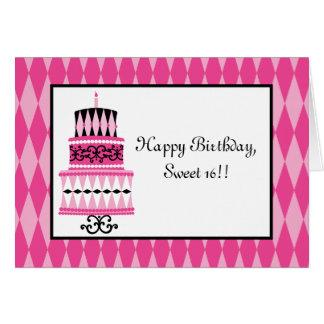 Rosa und schwarzer Party-Kuchen Karte