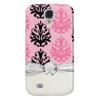 rosa und schwarzer schicker Damast des Tones zwei Galaxy S4 Hülle
