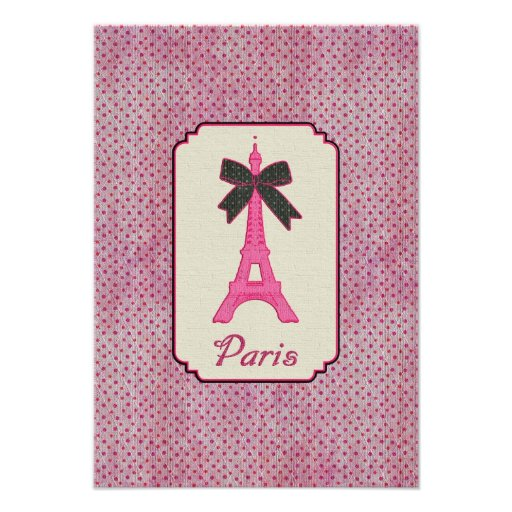 Rosa und schwarzer Tupfen-Eiffelturm Paris u. Ankündigung