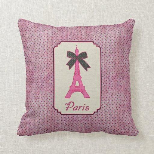 Rosa und schwarzer Tupfen-Eiffelturm Paris u. Kissen