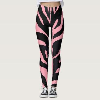 Rosa und schwarzer Zebra-gestreifte Gamaschen Leggings
