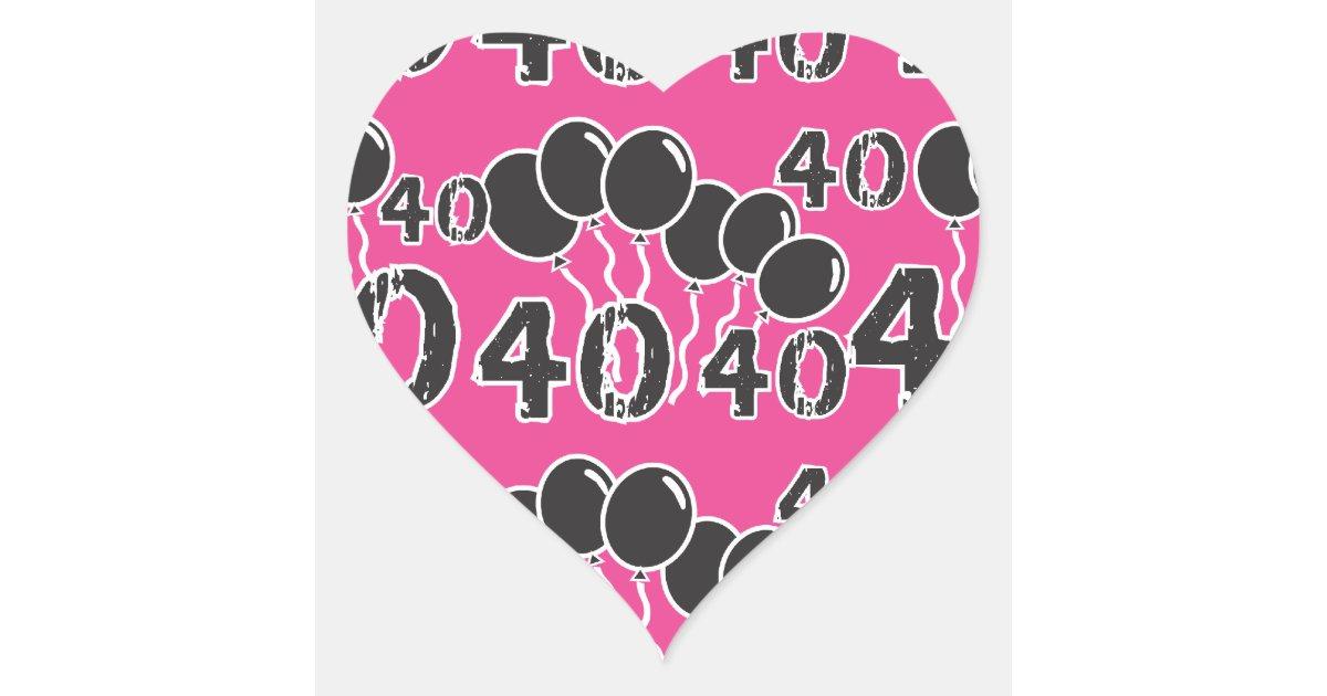 rosa und schwarzes 40 geburtstag 40 jahre altes herz aufkleber zazzle. Black Bedroom Furniture Sets. Home Design Ideas