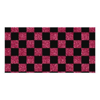 Rosa und schwarzes checkered Muster des Glitters Bilderkarten