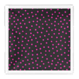 Rosa und schwarzes Confetti-Punkt-Muster Acryl Tablett