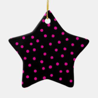 Rosa und schwarzes Confetti-Punkt-Muster Keramik Ornament