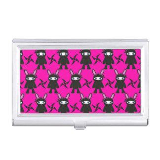 Rosa und schwarzes Ninja Häschen-Muster Visitenkarten Etui
