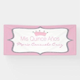 Rosa und silberne Kronen-Tupfen Quinceanera Fahne Banner