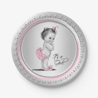 Rosa und silberner Baby-Duschen-Papier-Teller Pappteller