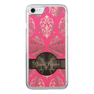 Rosa und silbernes Damastmonogramm Carved iPhone 7 Hülle