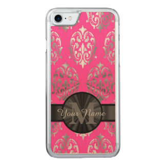 Rosa und silbernes Damastmonogramm Carved iPhone 8/7 Hülle