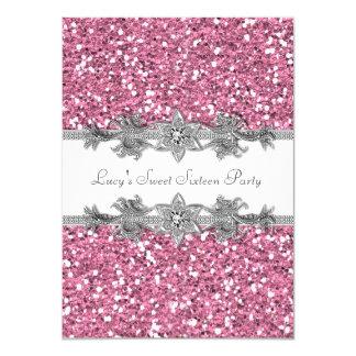 Rosa und silbernes Party des Glitter-Bonbon-16 11,4 X 15,9 Cm Einladungskarte