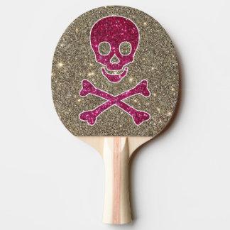 Rosa und silbernes Schädel-GlitterPing Pong Paddel Tischtennis Schläger