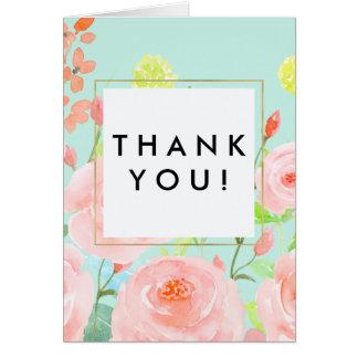 Rosa und tadellose Watercolor-Rosen danken Ihnen Karte