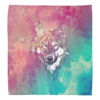Rosa und Türkis-Aquarell-künstlerischer Wolf Halstücher