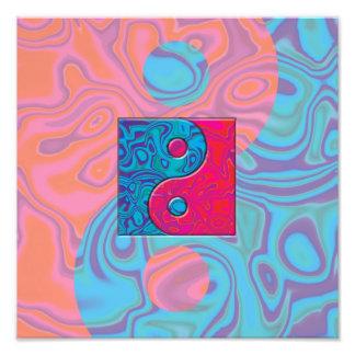 Rosa und Türkis Yin Yang Symbol Fotodruck