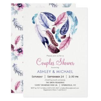 Rosa und violette Feder-Paar-Dusche Karte