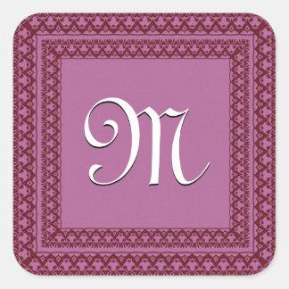Rosa-und Wein-Rot-Hochzeits-Monogramm Quadratischer Aufkleber