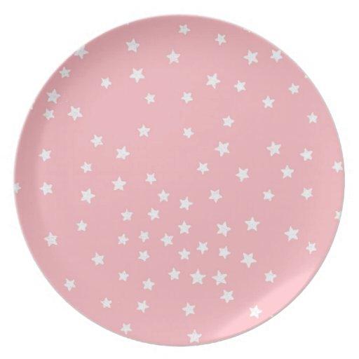 rosa und wei stern melamin platte flache teller zazzle. Black Bedroom Furniture Sets. Home Design Ideas