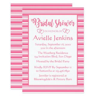 Rosa und Weiß Stripes Brautparty-Hochzeit Karte