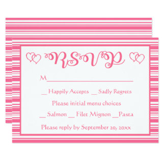 Rosa und Weiß Stripes das UAWG, das Party Wedding Karte