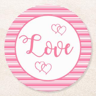 Rosa und Weiß Stripes die Liebe-Herzen, die Party Runder Pappuntersetzer