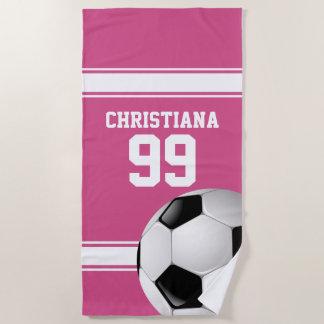 Rosa und Weiß Stripes Jersey-Fußball Strandtuch