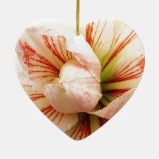 Rosa und weiße Amaryllis-Blume Keramik Ornament
