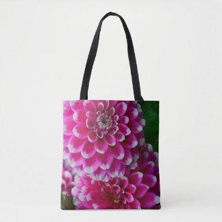Rosa und weiße Dahlie-Blumen Tasche