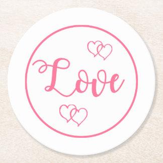Rosa und weiße Liebe-Herz-Hochzeit, Brautparty Runder Pappuntersetzer