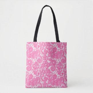Rosa und weiße Paisley-Damast-mit BlumenBlumen Tasche
