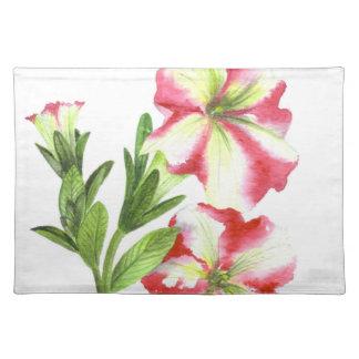 Rosa und weiße Petunie-Blumenkunst Stofftischset